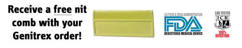 Receive a free nit comb with your order of Genitrex
